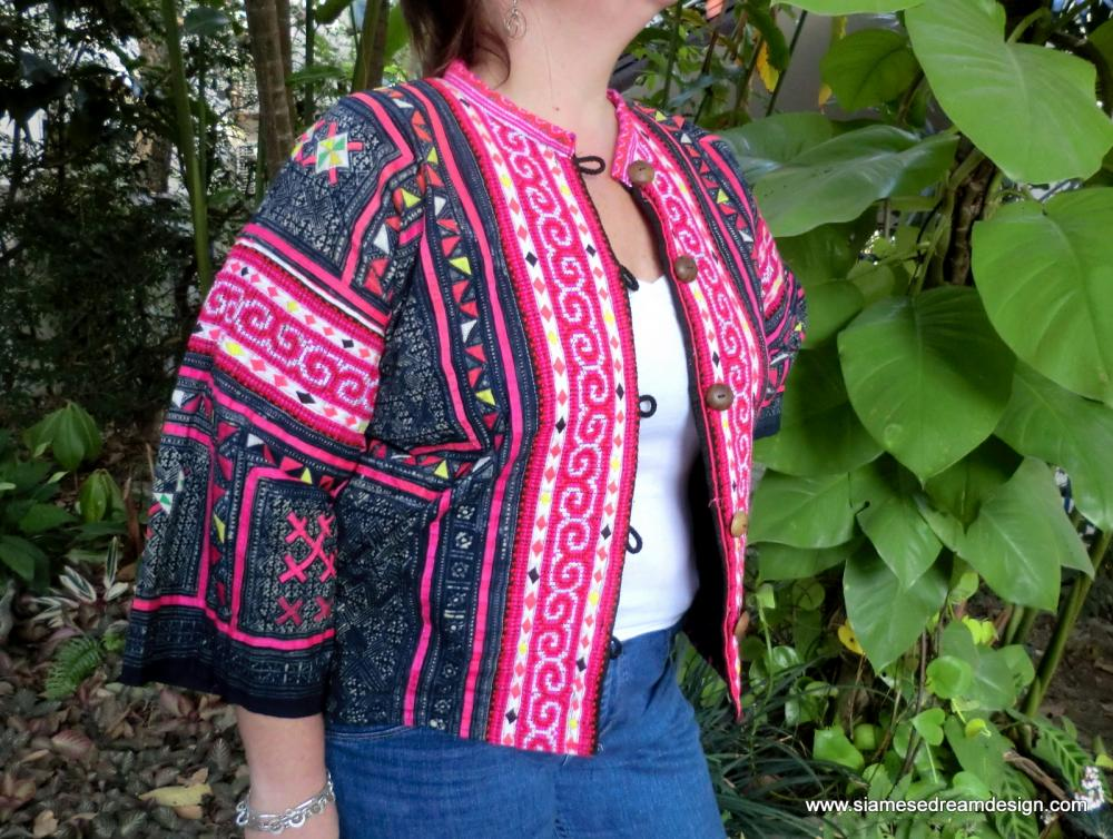 Plus Size Tribal Jacket In Appliqued Indigo Batik Cotton With Colorful Embroidery