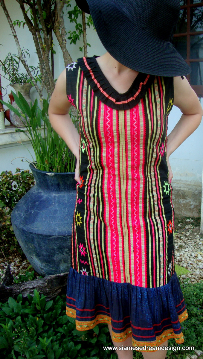 Rosa Dress - Hmong Appliqué & Batik Colorful Cotton