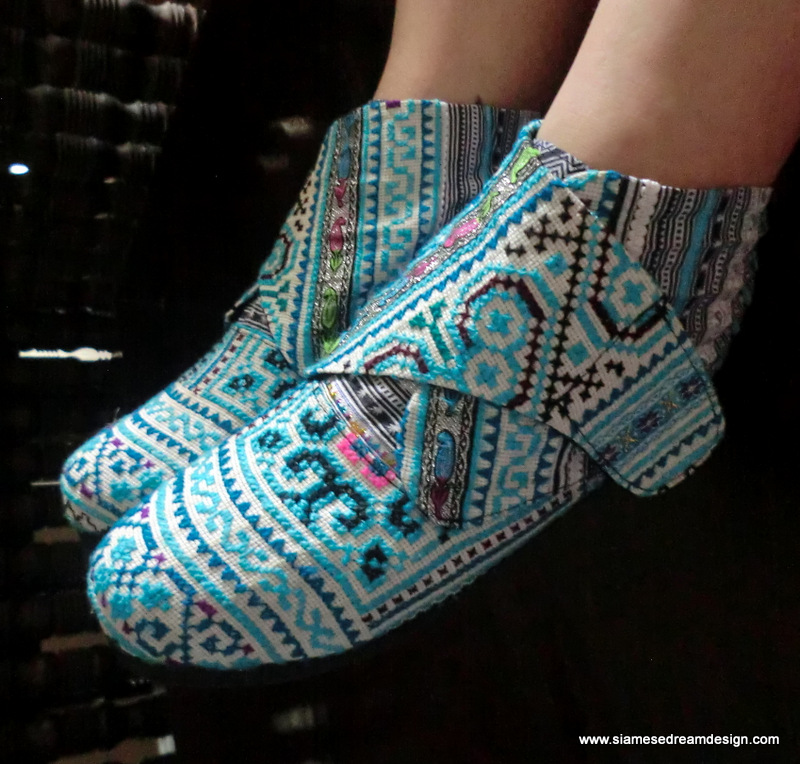 Retro Ankle Bootie In Ice Blue Hmong Embroidery Vegan Shoe