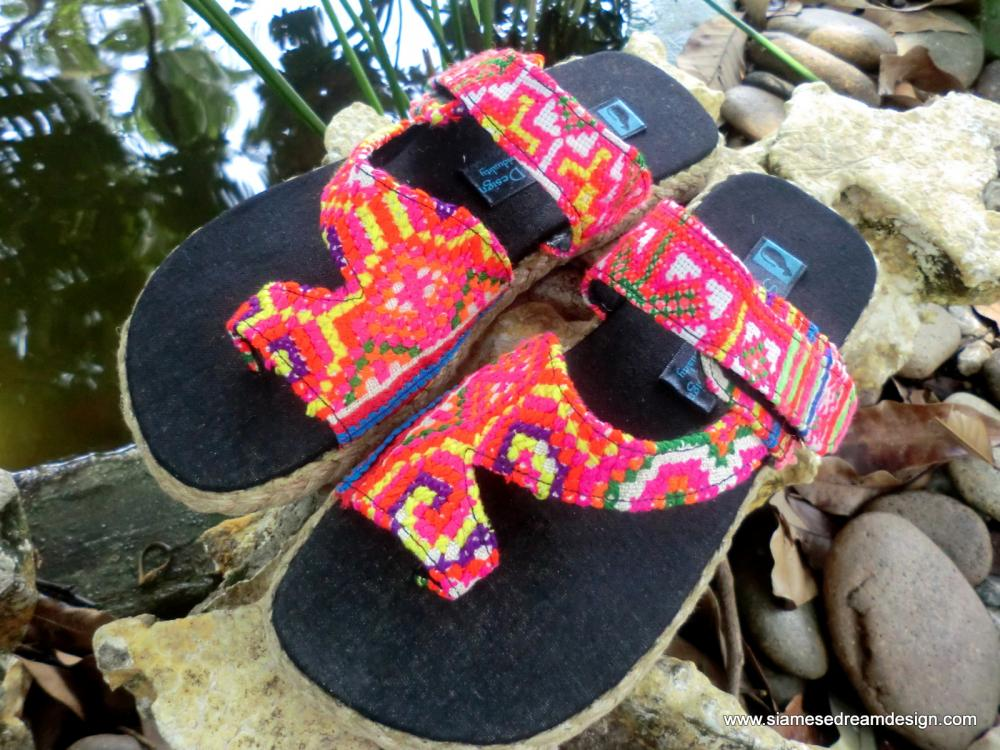 Womens Vegan Sandal Hmong Rainbow Embroidery Toe Wrap Flat