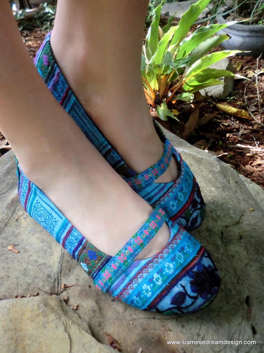 Blue Floral Colorful Hmong Embroidered Ballet Flats Shoes