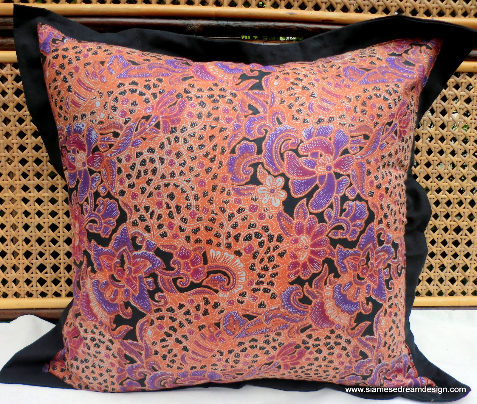 XL Floor Pillow Or Cushion Cover In Colorful Natural Balinese Batik Peach And Lavender 24 Inch ...